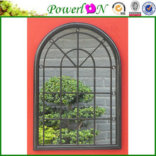 Wholesale Cheap New Antique Style Wrough Iron Framed Carved Tinsley Arched Window Wall Mirror, For Home Backyard