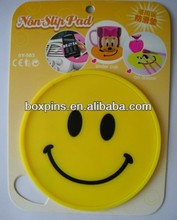 bright yellow smiley face round cup mat unbreakable cup coasters