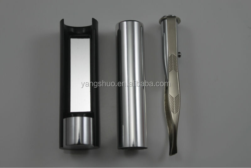 YS1045 Eyebrow LED light stainless steel Tweezers with mirror
