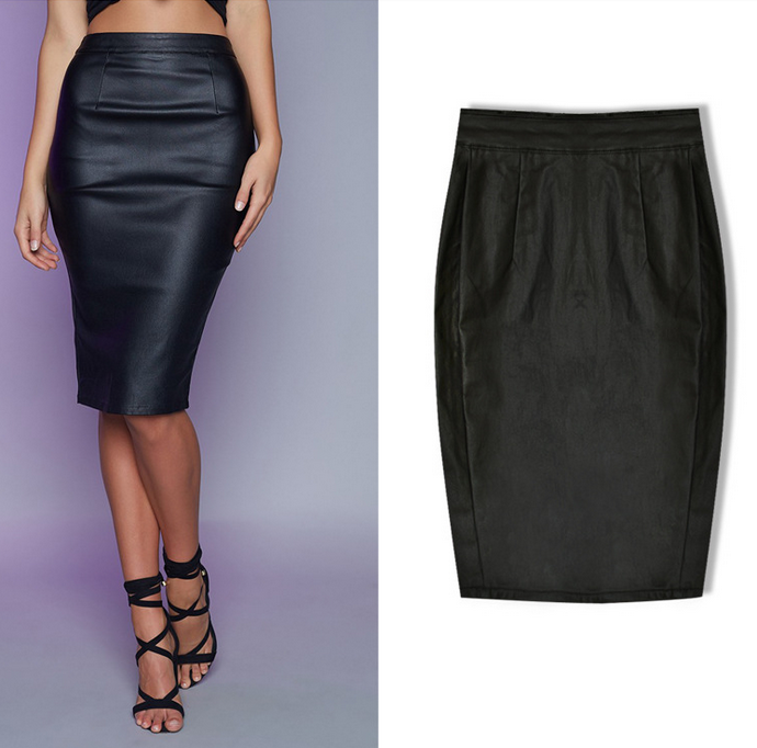 B31987A Hot Sell Sexy Black Tight Slim Fit Split PU Leather Pencil Skirt