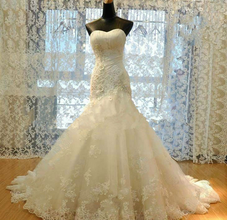 SJ1303 new design sweetheart appliqued ball gown organza champagne wedding dress