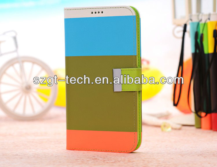 for Samsung Galaxy Mega i9200 Multicolor Stripe Series Leather Case with Credit Card Slot & Holder