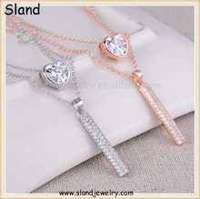 fashion rose gold and silver color jewelry set 925 sterling silver diamond heart pendant and crystal bar necklace for cute girls