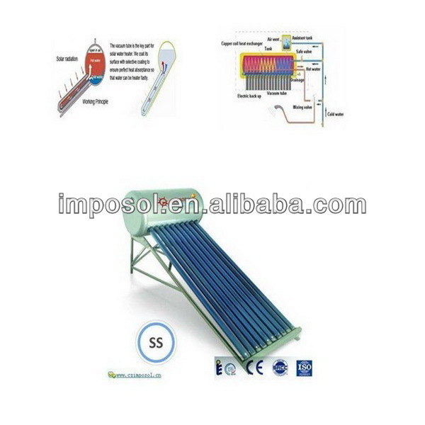 50L-300L calentadores solares, calentador solar agua,solar water heater stainless steel