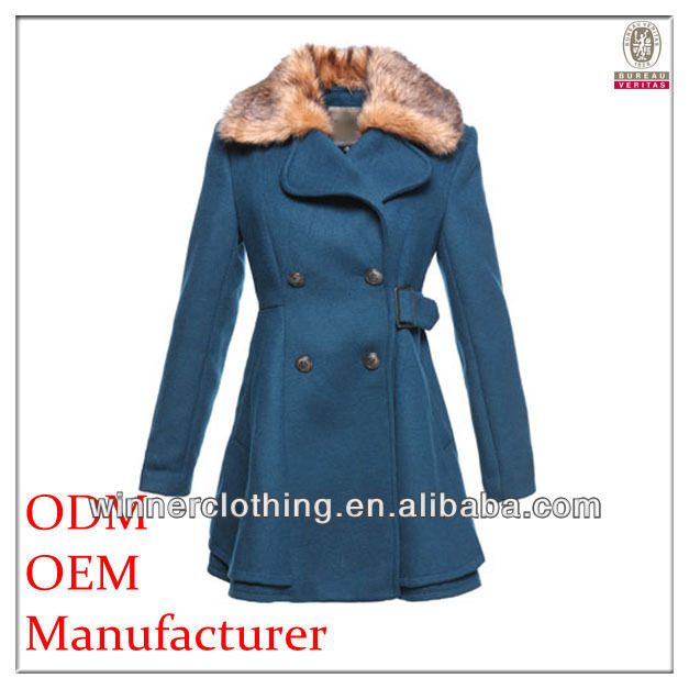 simple fashion high quality double breasted women winter long coats with long sleeves and fur collar