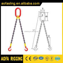 high quality safety factor G80 hook lifting chain sling