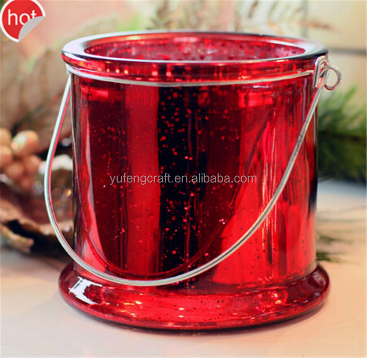 Online hanging red glass candle holders customized soy wax candle for wedding centerpieces