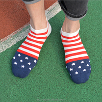 Cheap Wholesale Flag Sock 100% Top Quality Cotton Sock Red White Blue Flag