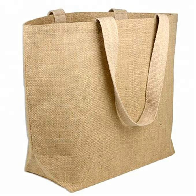 Daily Laminated Jute Burlap travel totes with Cotton Handles and bottom gusset