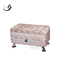 Hot Selling!!!wholesale cheap fabric ottomans with bling diamond