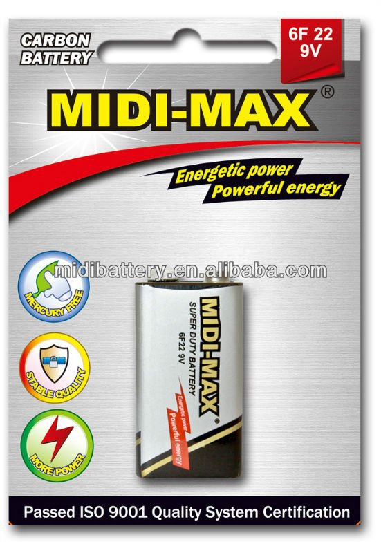 Mid-max dry cell battery zinc carbon 9v 6F22