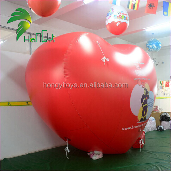 Inflatable pvc Heart Shaped Flying Balloons for Decorations