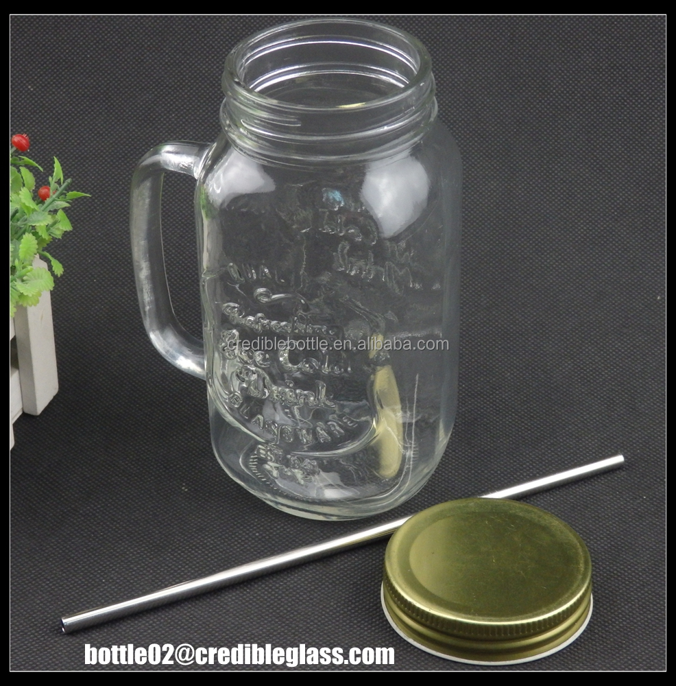 Pretty Airtight glass 1000ml mason jar with gold metal lid and straw