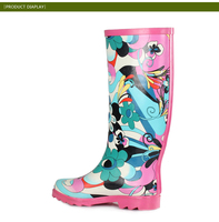 Long wellies for women clear rubber rain boots,water shoes,100% waterproof rain boots