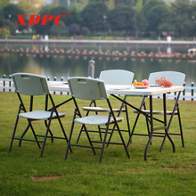 wholesale latest white banquet party wedding event garden outdoor plastic folding tables and chairs with metal legs