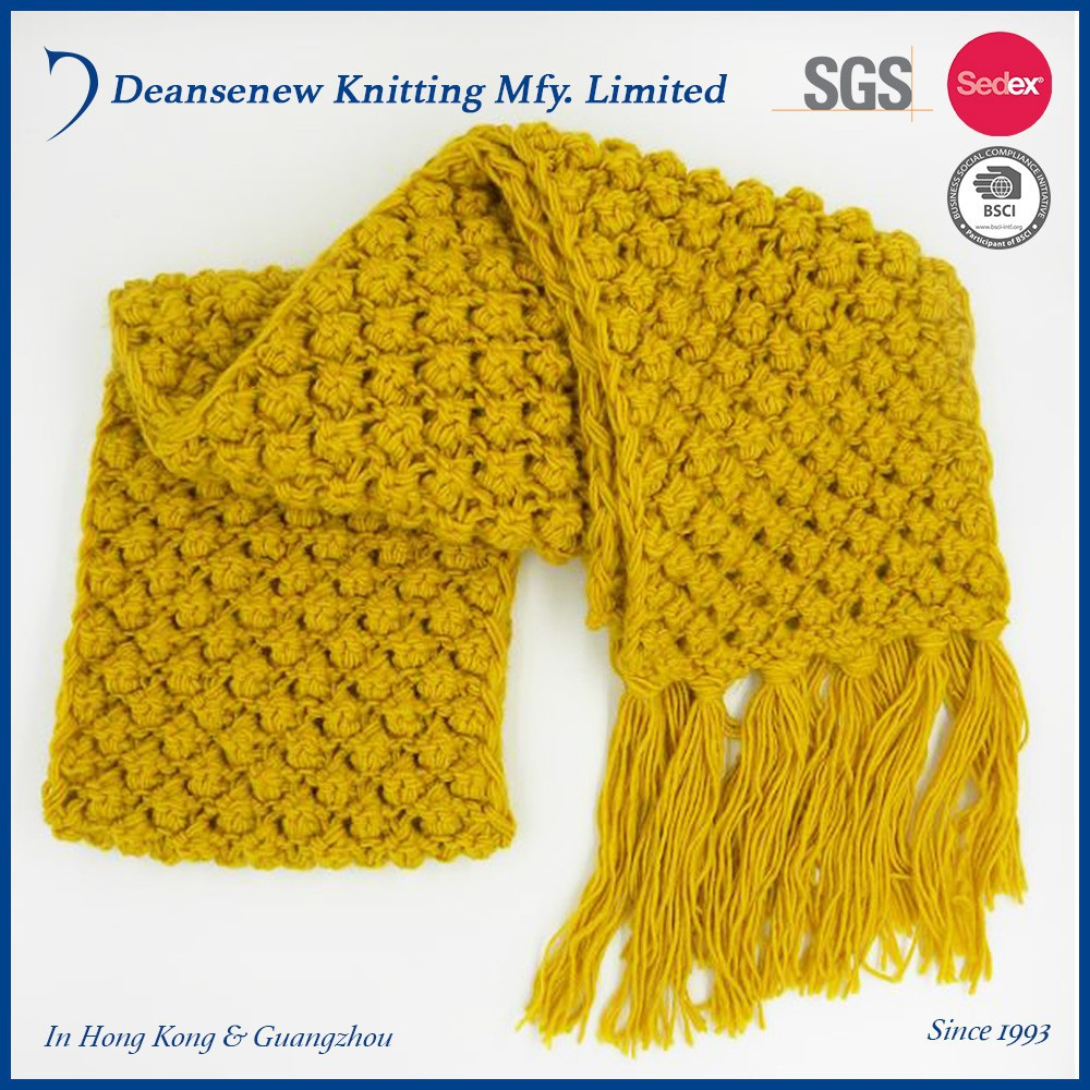 New Design Customize 100% Acrylic Chunky Warm Winter Adult Unisex Men Women Teen Yellow Popcorn Crochet Knit Scarf With Tassel