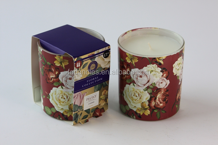 Floral Pattern Decorated Soy Candle Scented In Glass Jar