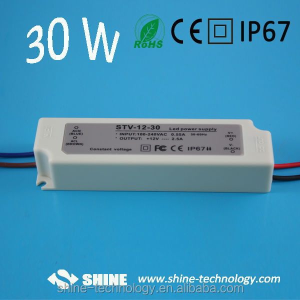 Waterproof IP67 Constant Voltage 12V 30W Led transformer with ce&rohs