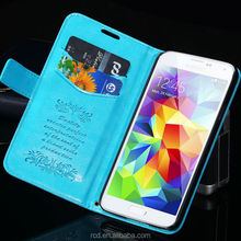 Stylish Display Stand Flip Cover PU Leather Case For Samsung Galaxy S5 I9600 With Strap RCD03973