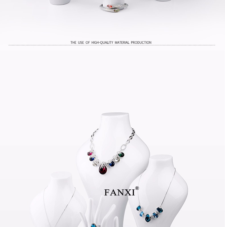 FANXI 2016 New Fashion Shop Showcase White Lacquer Jewelry Display Mannequin Stand Bangle Ring Hanging Hand Resin Necklace Bust