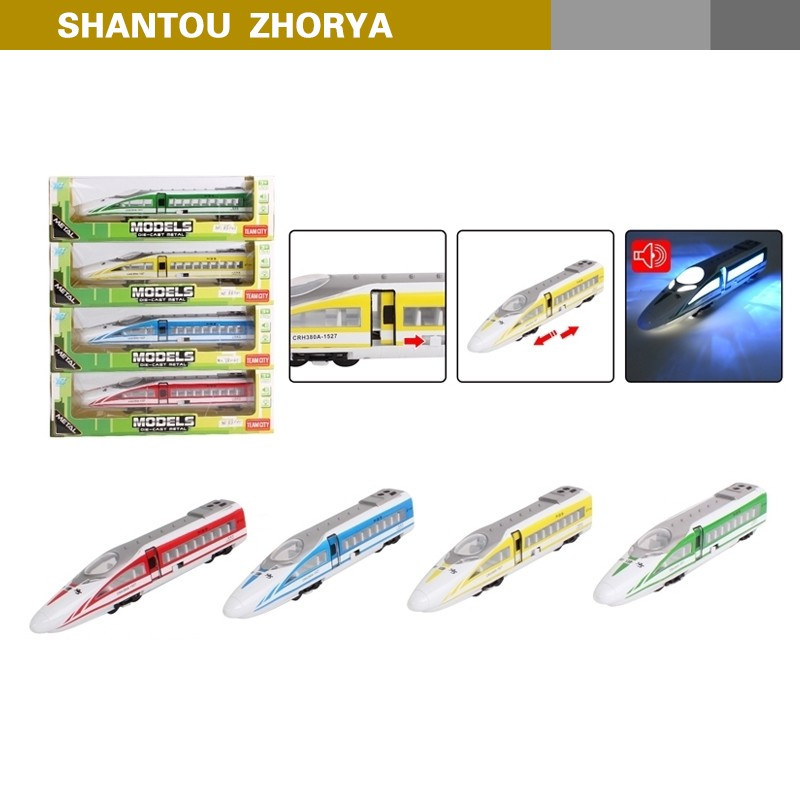 Zhorya pull back die cast high speed train model toy with music and light