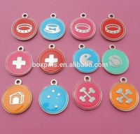 Soft enamel round shape with different logo dog tag (Box-metal dog tags pet id tag dog-329b)