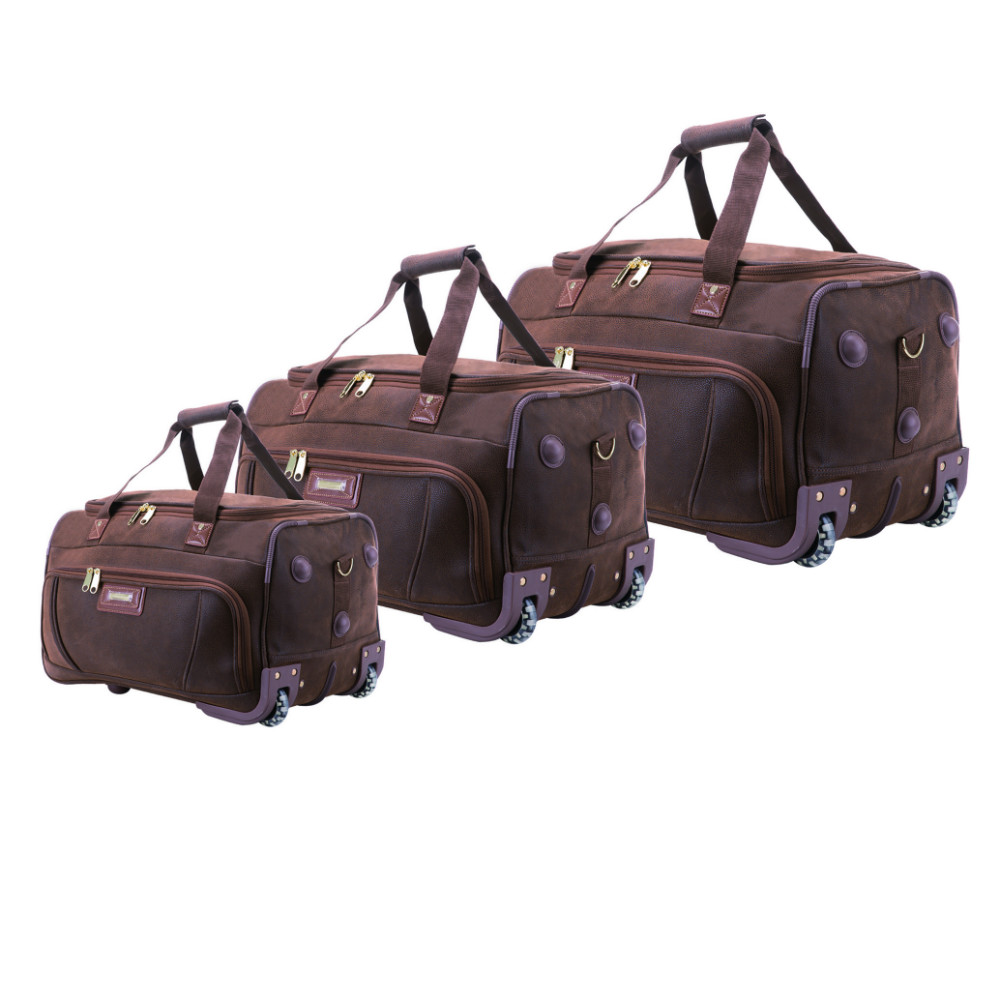 Angola sude fake leather duffel gym travel bag,faux PU outdoor sports weekend duffle holdall roller wheeled trolley luggage bag