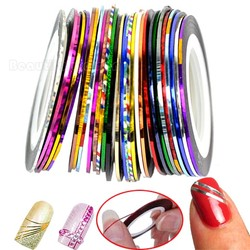 Free Shipping 30 mi Color Rolls Striping Tape Yarn Line Glue Adhesive Stick Strip Nail Art Decoration Sticker Decal b26
