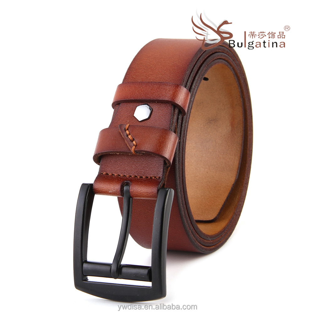 cow hide grain Genuine Leather Belt With custom zinc Alloy Buckle