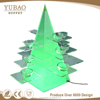 Triangle shape acrylic led light stand, lighted acrylic cupcake stand, lighted acrylic led cube