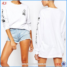 2015 New Arrival Fashion 100% Cotton Long Sleeve Printed Women White T-shirt