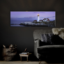 Nice lighthouse seascape pictures canvas prints led lights painting wall art light up for home decor dropshipping giclee print