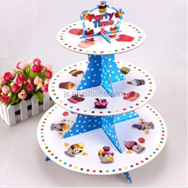 White paperboard decorative wedding cake stand