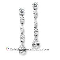 Female fashion zircon long chain diamond earrings silver earrings fashion jewelry wedding/party/gift