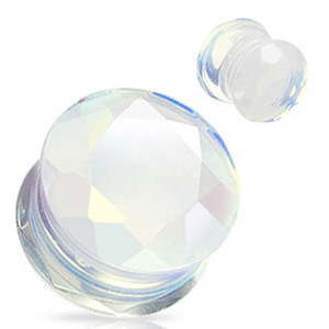 wholesale Opalite Faceted Gem Cut Double Flared ear plug tunnel