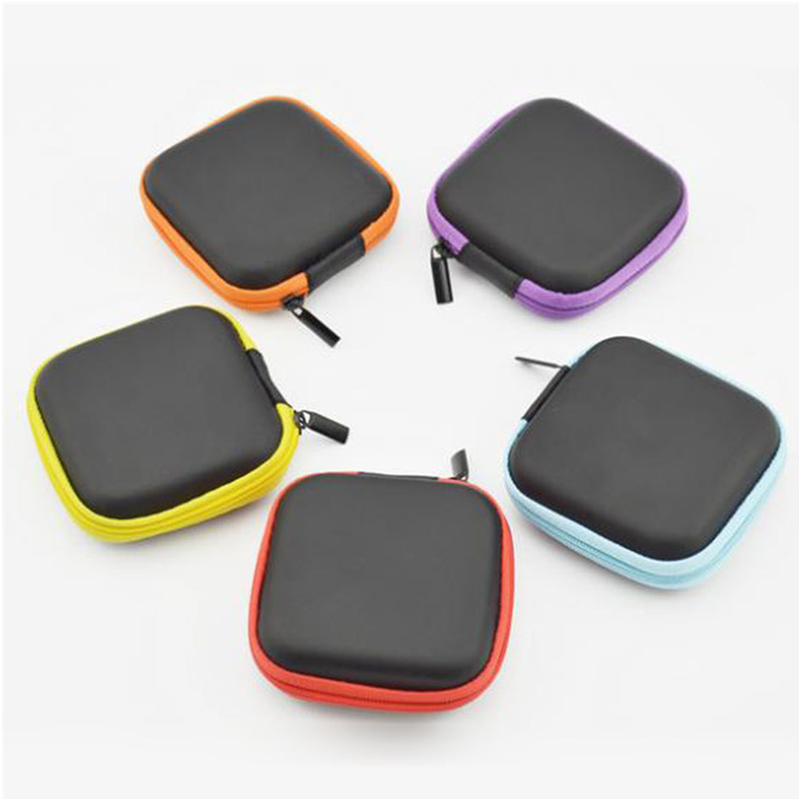 Circular Shaped Headset Eva Case For Bluetooth Headphone With Mesh Pocket, Zipper Closure Gadget Storage Case