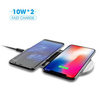 QI certified 20W 9V Wireless Charger pad, aluminum dual wireless charging pad, slim light wireless station