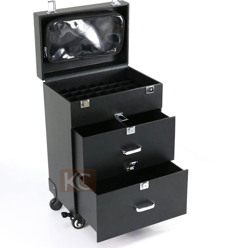 External Lever Two Drawers Professional Makeup Hair Stylist Case Top With Mirror