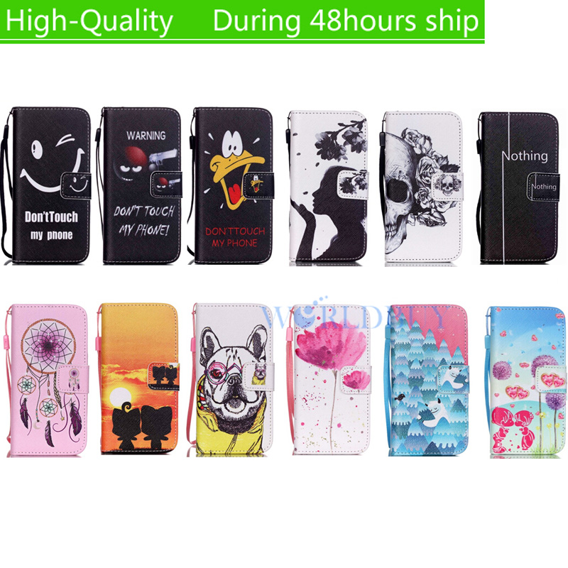 For Apple iPod Touch 6 Touch 5 Hand rope Horizontal Flip Pattern Painted Style Leather Case with Holder Card Slots free shipping
