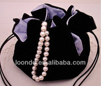 High quality black jewelry round bottom velvet bag with satin lining