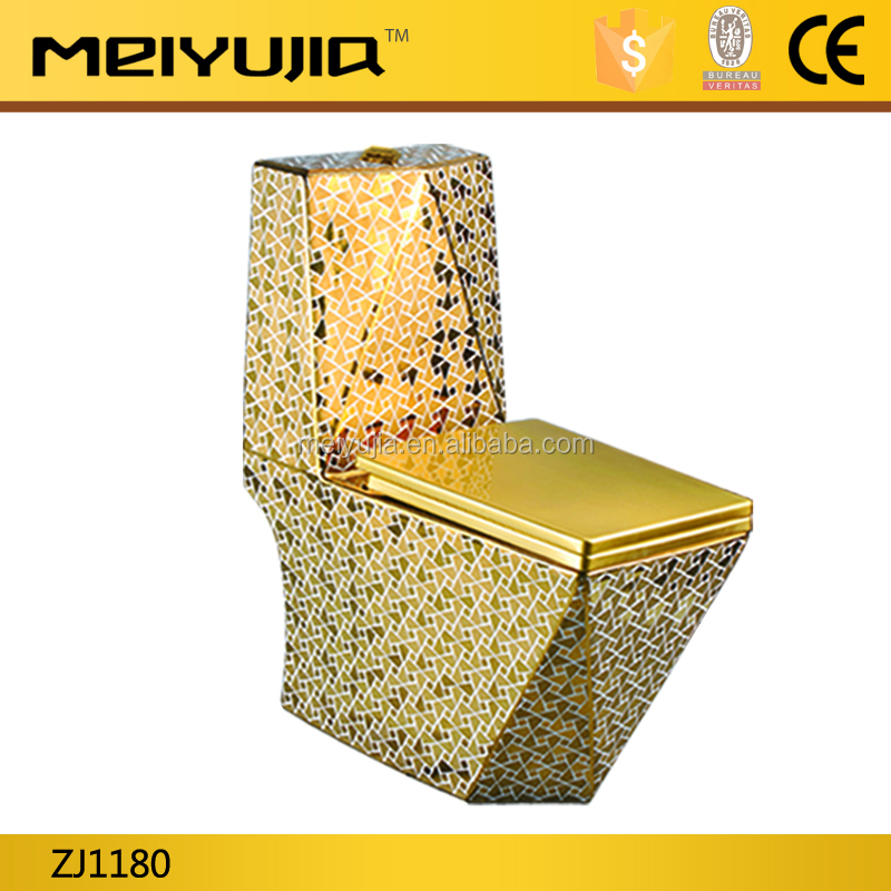 saving water ceramic luxury golden colored women toilet for hotel