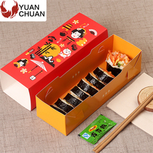 Disposable wooden printed sushi container box with drawer