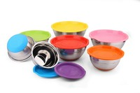 Wholesale Cheap Durable Round Deep Stainless Steel mixing bowls ( set of 5 pieces colorful )