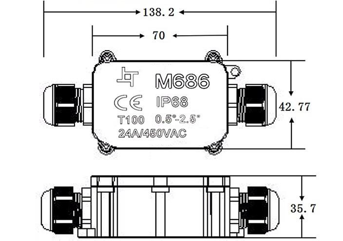 waterproof junction box ip68 connector electrical