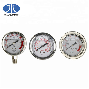 High Quality pressure gauge for water treatment plant system 2.5inch bottom connection
