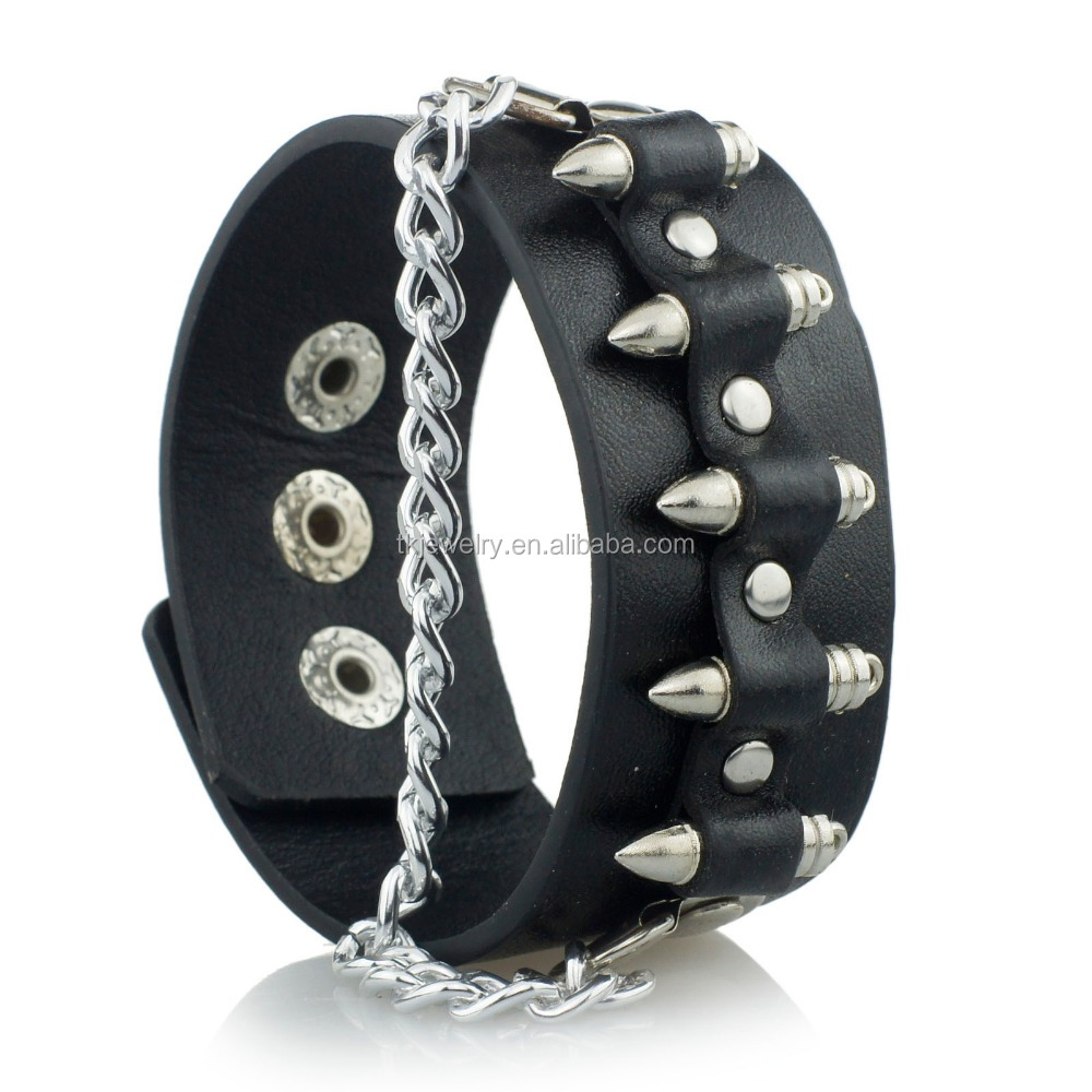 Manufacturer Wholesale Bullet Shape Chain Link Rock Bracelet With Cuff Leather For Cowboys
