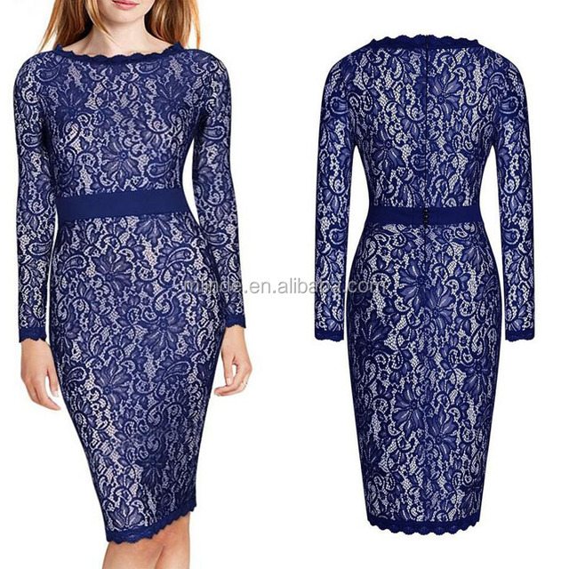 Guangzhou Women's Long Sleeves Blue Floral Lace Classic Slim Bodycon Midi Bridesmaid Dress