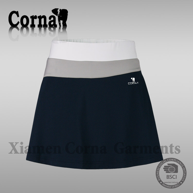 Ladies 100% polyester quick dry tennis golf skirt