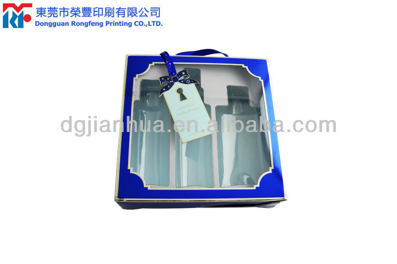 Olive oil packaging box with PET tray and PVC window