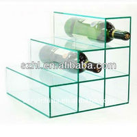 Clear big beer display rack acrylic wine bottle organizer wine box with dividers
